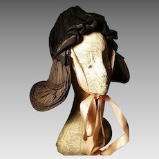 Victorian bonnet, silk chiffon and taffeta