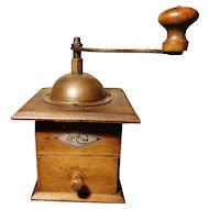 Rustic antique coffee grinder, dovetail joins, KTM