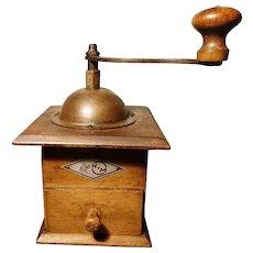 Rustic antique coffee grinder, dovetail joins, KTM
