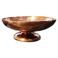 Antique copper pedestal bowl, hand hammered