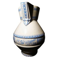 Huge blue and white transferware jug / pitcher, chinoiserie