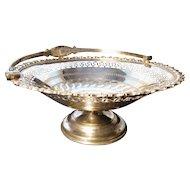 Antique silver plated cake basket, Victorian brides basket