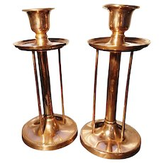 Antique copper candlesticks, Arts and Crafts, signed