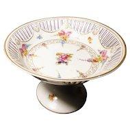 Vintage Bavarian porcelain compote, Schumann, Bouquet