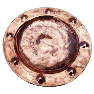 Antique copper charger, hand hammered, rivets