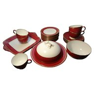 Rare Wedgwood tea set, claret ground and ground gilt, part service, 26pcs