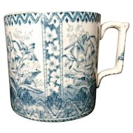 Antique 18th century transferware mug, huge blue and white chinoiserie vessel