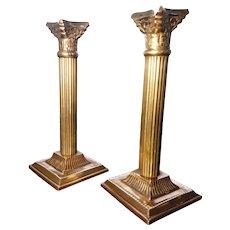 Victorian corinthian brass candlesticks, pair