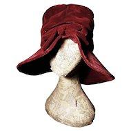 Vintage 40's red velvet hat