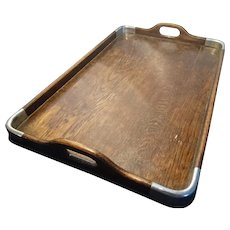 Large antique serving tray, oak and silver plate