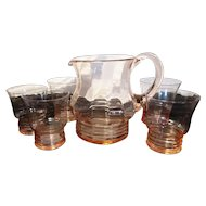 Vintage Art Deco blush glass pitcher set with 5 glasses