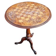 George III inlaid walnut games table, tripod legs