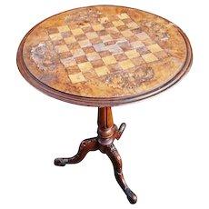 George III inlaid walnut games table, tripod legs