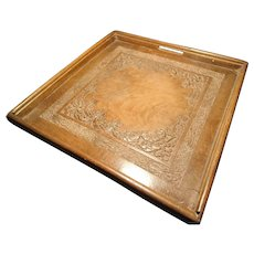 Antique walnut tray, Anglo-Indian carved wood