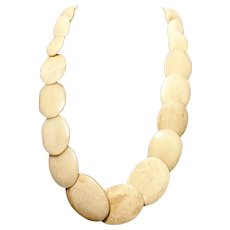 Huge antique bone necklace, unusual style Victorian