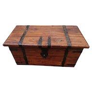Antique iron bound trunk, storage chest