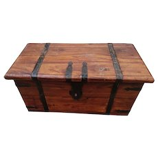 Antique iron bound trunk, storage chest