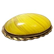 Large Georgian yellow agate brooch, pinchbeck mount
