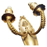 French antique double light wall sconce
