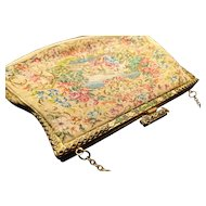 French antique tapestry purse, cloisonné and pyrite