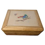 Antique Pietra Dura box, Italian, leather covered