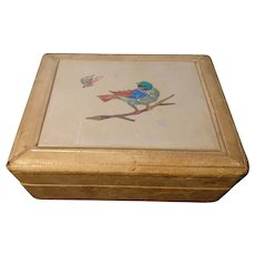 Antique Pietra Dura box, Italian, leather covered