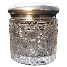 Antique cut crystal vanity jar, sterling silver top