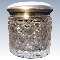 Antique cut crystal vanity jar, sterling silver top