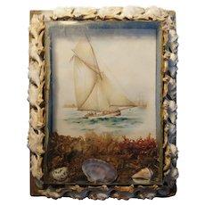 Victorian seashell picture, diorama, sailors valentine