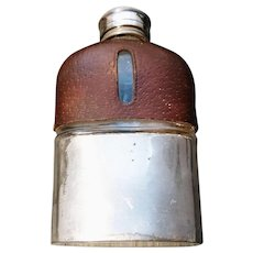 Victorian plated and leather covered hip flask