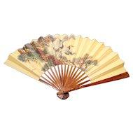 Vintage Chinese hand fan, oriental cranes, faux tortoiseshell