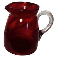 Victorian cranberry glass jug, pitcher