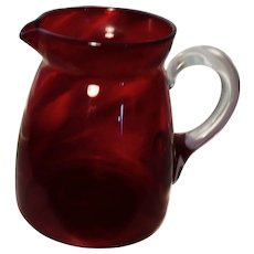 Victorian cranberry glass jug, pitcher