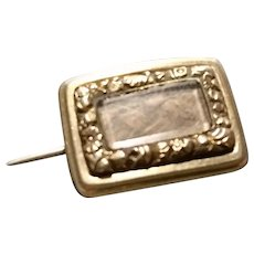 Georgian mourning brooch, 15ct gold, hairwork, inscribed 1827