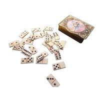 French antique snuff box with Napoleonic pow bone dominoes, gilt, plique a jour enamel