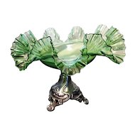 Antique green glass centrepiece, silver plated pedestal, Art Nouveau
