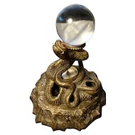 Rare antique figural snake inkstand, bronze, combination with compass, signed and dated
