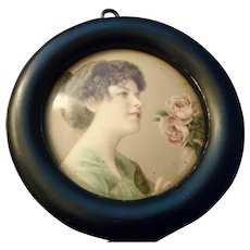 Antique celluloid portrait picture, ebonised frame