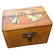 Antique Danish folk art box, hand painted