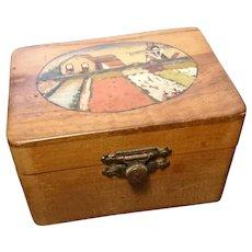 Antique Danish folk art box, hand painted