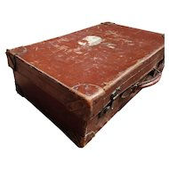 Rustic antique leather suitcase, large English case