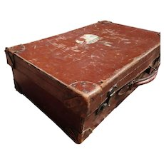 Rustic antique leather suitcase, large English case