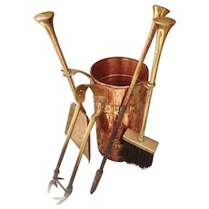 Victorian fireside companion set, antique fire tools