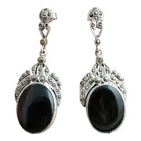 Art Deco Silver drop earrings, Onyx and Marcasite