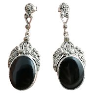 Art Deco Onyx drop earrings, sterling silver and marcasite