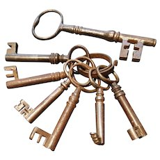Collection of antique keys, skeleton and maze keys