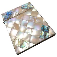 Victorian card case, mother of pearl and abalone