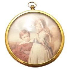 Antique brass convex picture frame