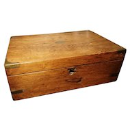 Rustic Antique writing box, Victorian work box, brass bound