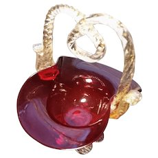 Victorian cranberry glass basket, gold leaf, posy basket